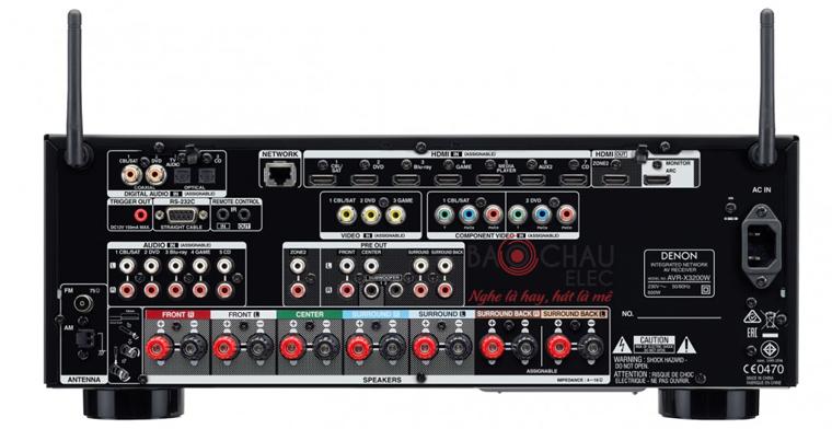 Amply Denon AVR-X3200W - mặt sau