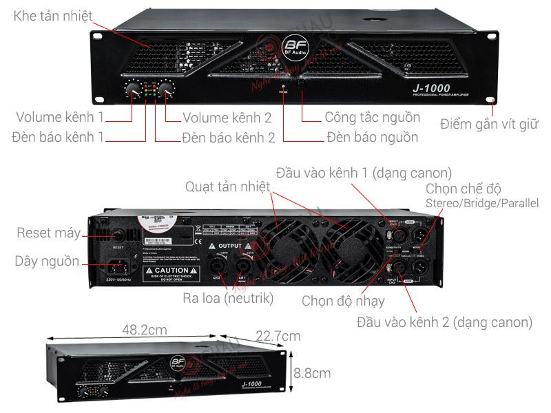 Cục đẩy công suất BF J1000 (2CHx1000W)