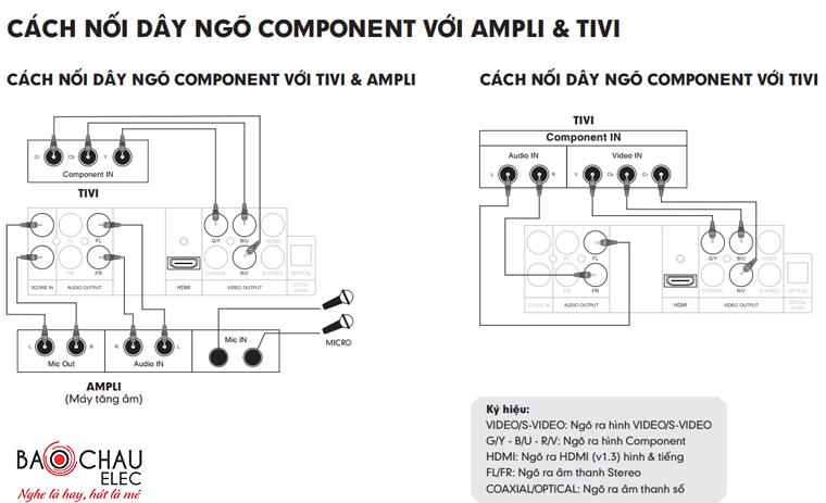 Cách nối cổng Component với tivi và amply