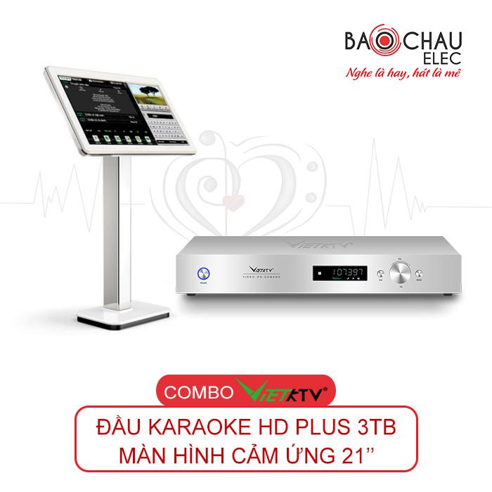 Combo Đầu VietKTV HD Plus 3TB và màn hình cảm ứng 21inch