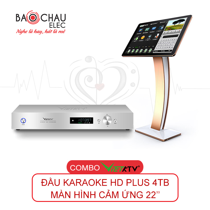 Combo Đầu VietKTV HD Plus 4TB và màn hình cảm ứng 22inch