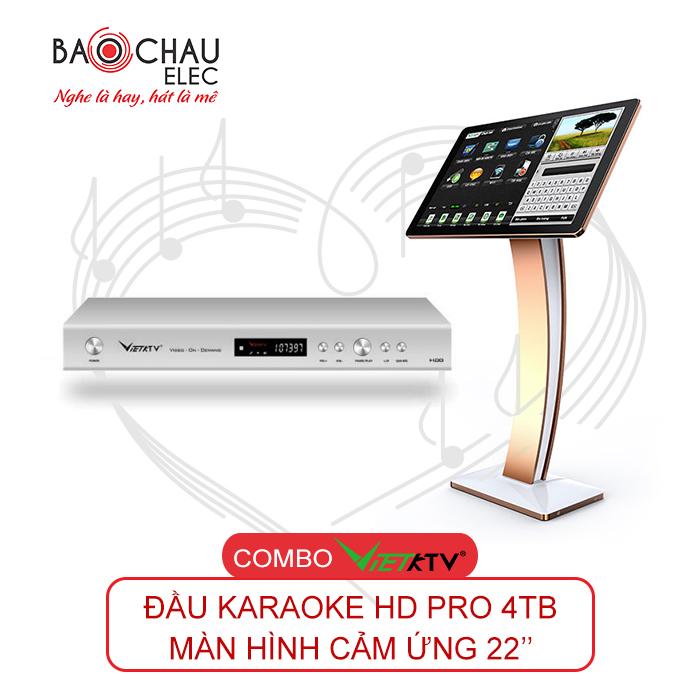 Combo Đầu VietKTV HD Pro 4TB và màn hình cảm ứng 22inch
