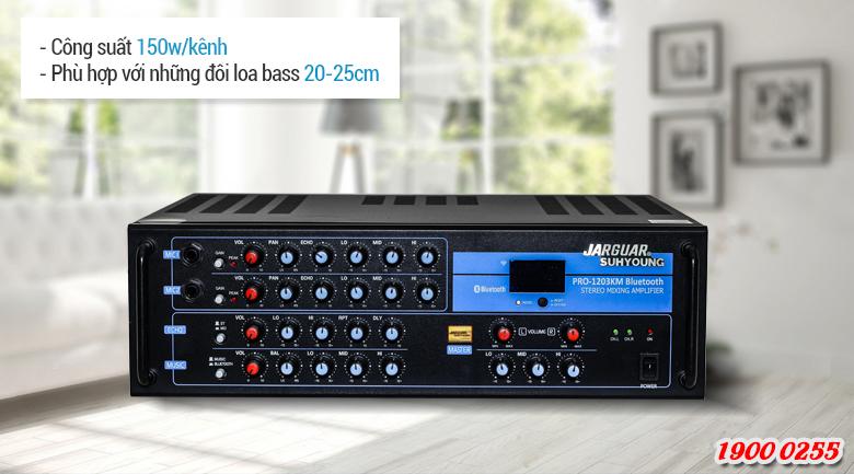 Với mức công suất đầu ra đạt tới 150w/kênh nhờ thế mà Jarguar 1203KM Bluetooth có thể đáp ứng được nhu cầu phối ghép với hầu hết những đôi loa karaoke bass 20cm-25cm