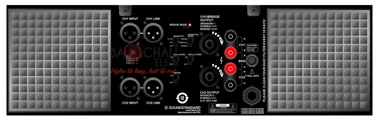 Mặt sau cục đẩy Soundstandard CA12 - 18 -20