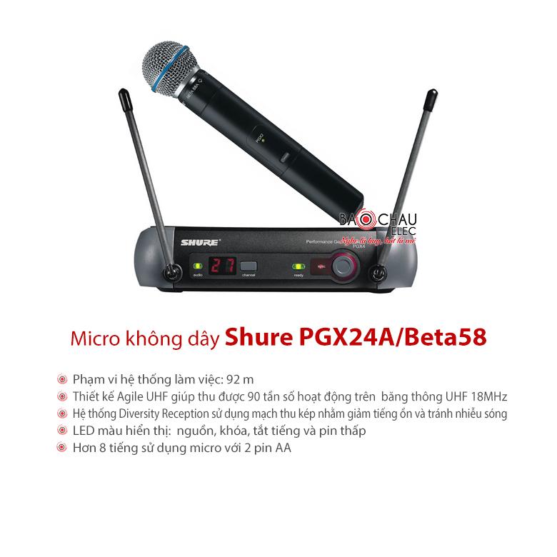 Bộ micro không dây cao cấp Shure PGX24A/Beta58