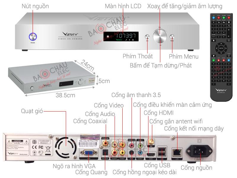 Thông số kỹ thuật Đầu karaoke VietKTV HD Plus 3TB
