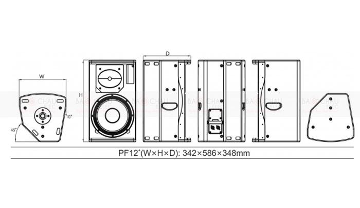 Loa Audiocenter PF12+ kích thước cụ thể