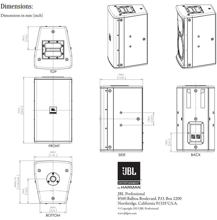 Kích thước của loa JBL KP6010