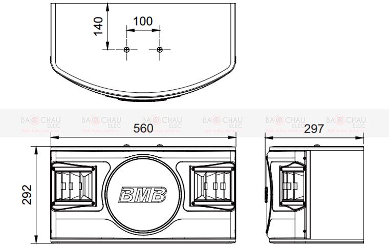 Chi tiết kích thước của loa BMB CSV480